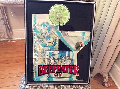 Vintage Art Deco Bar Mirror Beefeater Gin martini glass olives  Great colors