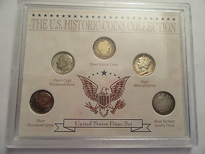 US Historic dime Collection, 5 coins, 4 silver, incl. 1888 seated liberty