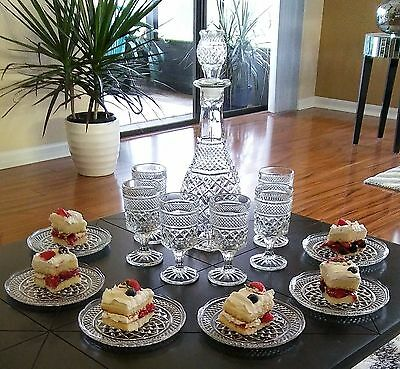 13 Pc Anchor Hocking Wexford Decanter 6 Wine Goblets and 6 Dessert Bread Plates