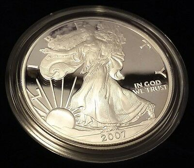 2007 US Mint Silver American Eagle 1oz Proof Dollar Coin w/Box and COA