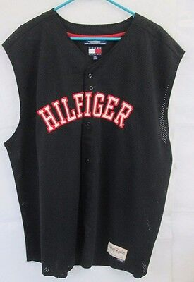 Vtg. 90's Tommy Hilfiger Big Logo SPELL OUT Black sleeveless Jersey Men's 2XL EX