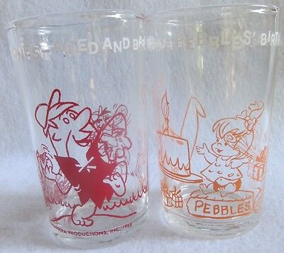 LOT of 2 Vintage 1964 THE FLINTSTONES Welch's Grape Jelly Juice Glasses