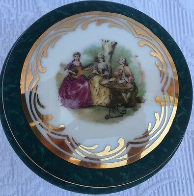 Rare Limoges France Hand Painted Signed Lidded Round Box People In High Society