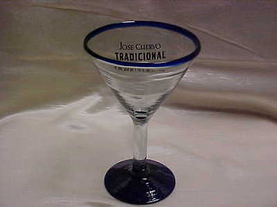 Jose Cuervo Tradicional Tequila Advertising Blue & Clear Glass from Mexcio