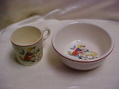 Vintage 1920's Homer Laughlin Pottery Childs Bowl and Mug/Cup Mary Little Lamb