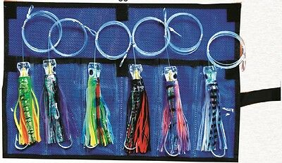 """6x Pusher Lures Marlin / Tuna  5.5"""" Trolling Rigged Lures with Mesh Case"""