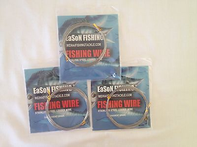 Single Strand Stainless Fishing Wire Trace 3 Pack #8 85lb / 39kg