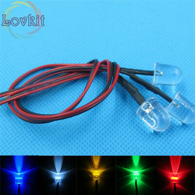 100pcs 10MM Round Top 9 Colors Pre-Wired Resistor 12V DC 20cm Led Diodes DIY