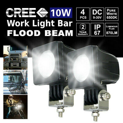 4X 10W CREE LED Work Light Bar flood Beam 4WD Reverse Lamp Boat SUV 4X4 12V 24V