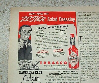 1953 advertising -TABASCO McIlhenny hot Pepper Sauce- French Dressing recipe AD