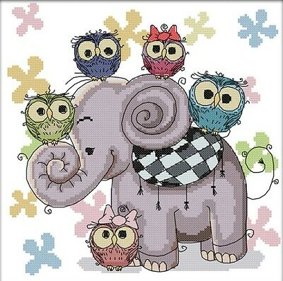 Elephant and Owl Friends. 14CT Counted Cross Stitch Kit. Craft Brand New.