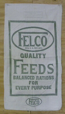 Vintage Felco Quality Feeds, Livestock, Cattle, Hog, Poultry Cloth Feed Sack