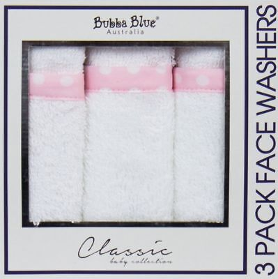 Bubba Blue Classic 3 Piece Face Washers (Polka Pink)