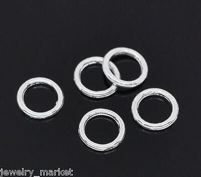 500X JM Silver Plated Soldered Closed Jump Rings 6mm