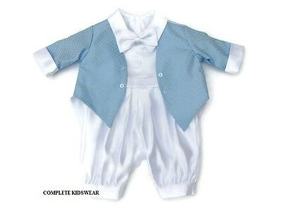 Baby Boys White Christening Romper Suit Blue Jacket Christening Outfit  9-12 Mts