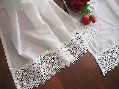 Two Pieces Pretty Wide Lace White Curtain 76cm Drop