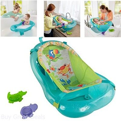 Fisher-Price Bath Tub, Rainforest Friends 3 Stages Of Use Include Newborn Infant