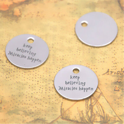 10pcs Keep believing miracles happen silver tone message HP charm pendant 20mm
