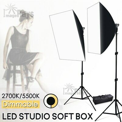 45W Photography Studio Dimmable LED Lights Softbox Lighting Soft Light Stand Set