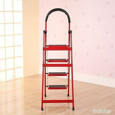 STEEL FRAME 4 WIDE TREAD STEP LADDER 138cm RUBBER GRIP FOLDABLE FOUR STEP