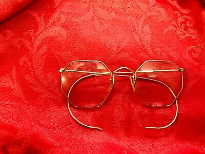 Antique Bausch & Lomb 1/10 12K Gold Filled Wire Spectacle Ghandi Lennon Glasses