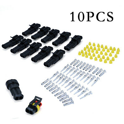 10-Kits 2 Pin Way Sealed Waterproof Electrical Wire Connector Plug Car Auto Set