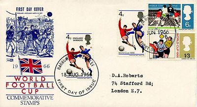 1966 World Cup FDC Doubled with 1966 England Winners Stamp