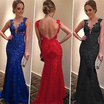 Women Long Backless Dress Evening Party Prom Bridesmaid Ball Gown Formal Dress