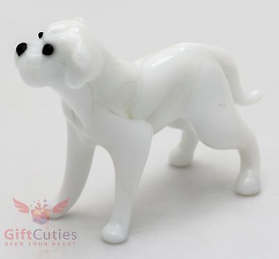 Art Blown Glass Figurine of the American Bulldog dog