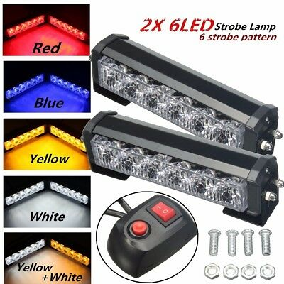 2x 6 LED Recovery Strobe Car Truck Warning Flashing Emergency Grille Bar Light
