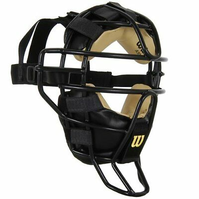 Wilson Dyna-Lite Steel Cage Two Tone Black and Leather Umpires Facemask