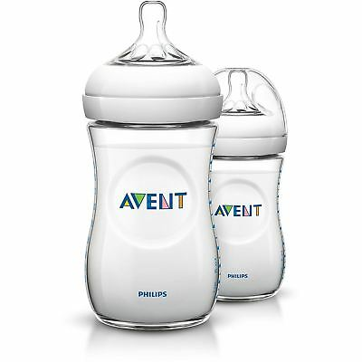 Philips AVENT Natural Newborn Feeding Bottle 260ml 2 Bottles BPA Free SCF693/27
