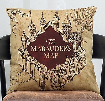 """Harry Potter Marauders Map 17"""" Square Cushion Cover Pillow Case Home Decor Gift"""