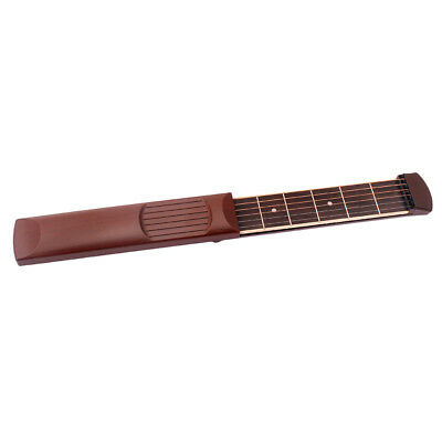 Pocket Guitar Practice Gadget 6 Fret Strings Model Tool For Beginner Brown