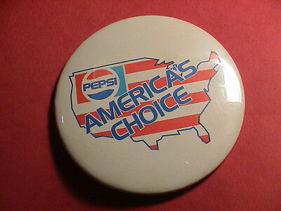 Pepsi America's Choice Soda Pop Drinking Beverage Advertising Usa Pin Pinback