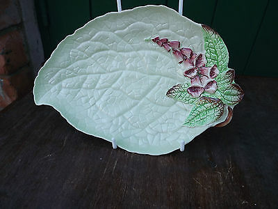 Vintage Carlton Ware Green Fox Glove pattern leaf shape dish All Fully Stamped