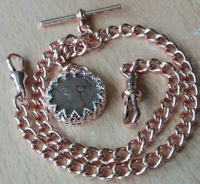 Early Victorian Coin Fob Rolled Rose Gold Double Albert Pocket Watch Chain