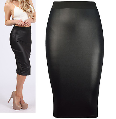 RSVH WWMS Womens Pencil Wiggle Bodycon Waist Wet Look Faux Leather Midi Skirt
