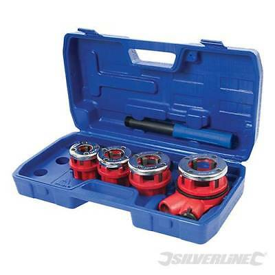 SILVERLINE Pipe Threading Kit 5pce EXTERNAL CUTTING OF BSPT THREADS DIES 868556