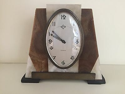Art Deco Marble Clock French In Working Order