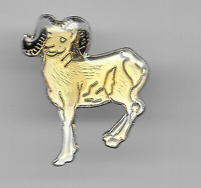 Vintage White Dahl Aries Ram old enamel pin