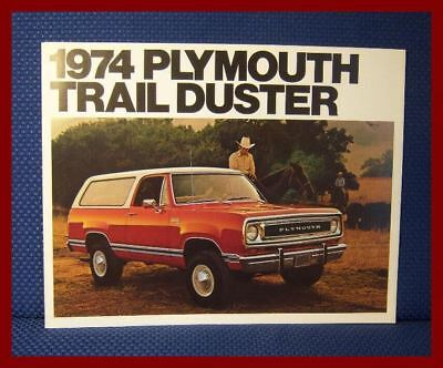 1974 Plymouth TRAIL DUSTER Sport Utility Vehicle Brochure - New Old Stock