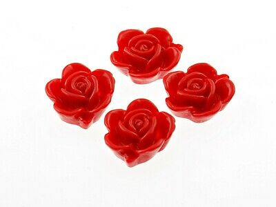 6 Cabochons Rose in zart rot, 15 mm