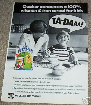 1970 ad page - Quaker Oats King Vitaman vitamin cereal VINTAGE AD