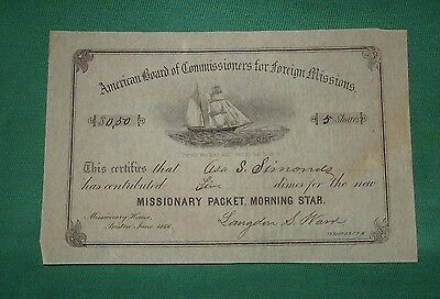 ORIGINAL 1866 Missionary Packet Morning Star Ship Contribution Certificate Stock