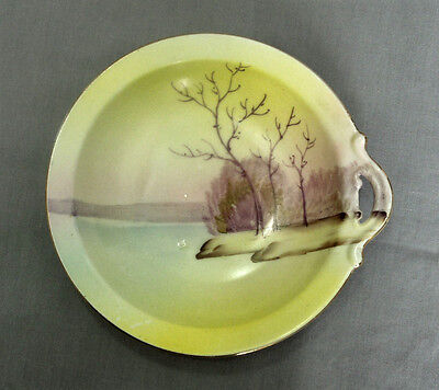 Meito China Hand Painted Sunrise Sunset Single Handle Dish Japan