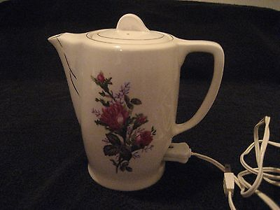 Vintage White Porcelain Electric Two-Cup Tea Pot With Pink Roses