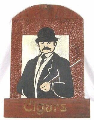 Vintage Large Double Sided Cigar Shop Trade Sign Hand Painted Wood