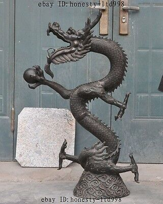 """41"""" Huge Old China Fengshui Bronze Auspicious Lucky Dragon Bead Statue Sculpture"""