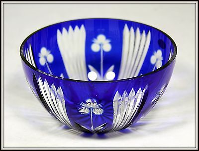 """Russian  """"Antique Hand Cut Cobalt to Clear Crystal Bowl""""  (3.5"""" H x 6.5"""" W)"""